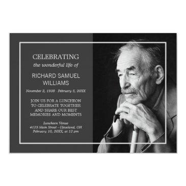 charcoal minimal celebrating life | custom photo invitation