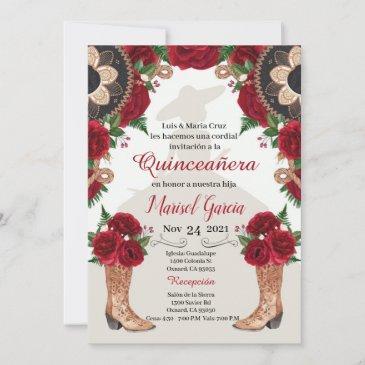 charra quinceanera invitation, red roses mariachi