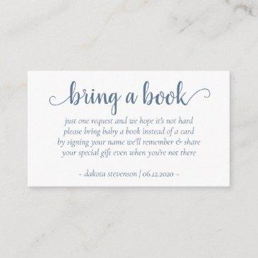 chic baby shower | dusty blue bring a book poem enclosure invitations