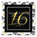 chic black & gold diamond 16th birthday invitations