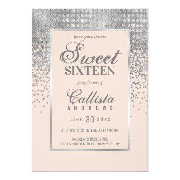 Small Chic Blush Pink Silver Glitter Confetti Sweet 16 Invitation Front View