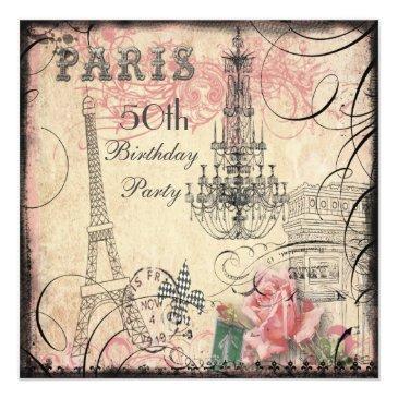 chic eiffel tower & chandelier 50th birthday invitations