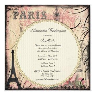 Small Chic Eiffel Tower & Chandelier Sweet 16 Invitations Back View