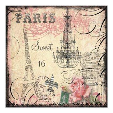chic eiffel tower & chandelier sweet 16 invitations