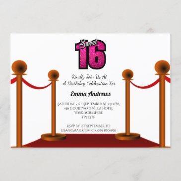 chic elegant red carpet sweet 16 party invitation
