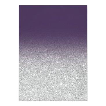 Small Chic Faux Silver Glitter Purple Ombre Sweet 16 Invitation Back View
