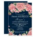 chic floral blush peonies on navy sweet sixteen invitation