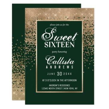 chic forest green gold glitter confetti sweet 16 invitation