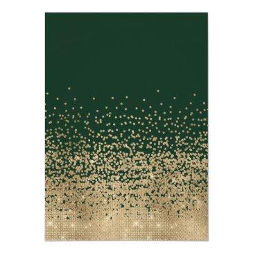Small Chic Forest Green Gold Glitter Confetti Sweet 16 Invitation Back View