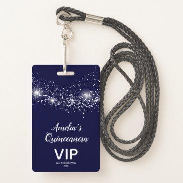 chic glitter on navy quinceañera invite vip pass badge
