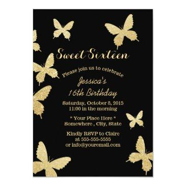 Small Chic Gold Butterflies Sweet 16 Invitations Front View