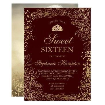 chic gold floral burgundy tiara chic sweet 16 invitation