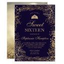 chic gold floral navy blue tiara chic sweet 16 invitation