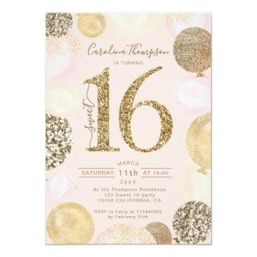 Small Chic Gold Glitter Blush Balloon Sweet 16 Photo Invitation Front View