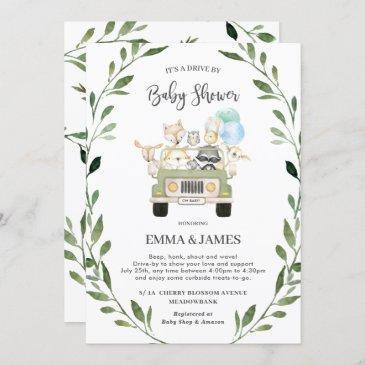 chic greenery woodland drive by baby shower boy invitation