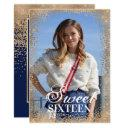 chic navy gold glitter confetti photo sweet 16 invitation