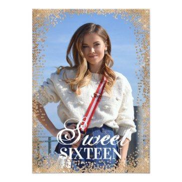 Small Chic Navy Gold Glitter Confetti Photo Sweet 16 Invitation Front View