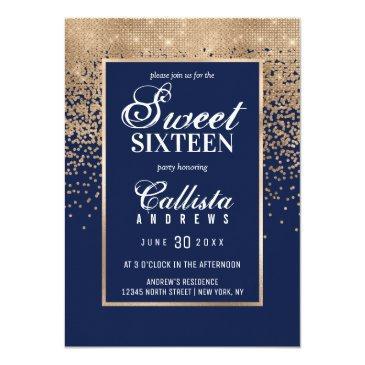 Small Chic Navy Gold Glitter Confetti Photo Sweet 16 Invitation Back View