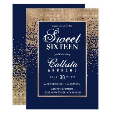 chic navy gold glitter confetti photo sweet 16 invitation