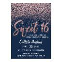 chic navy rose gold scattered glitter sweet 16 invitation
