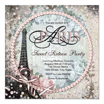 Small Chic Paris Sweet 16 Party Invitations Front View