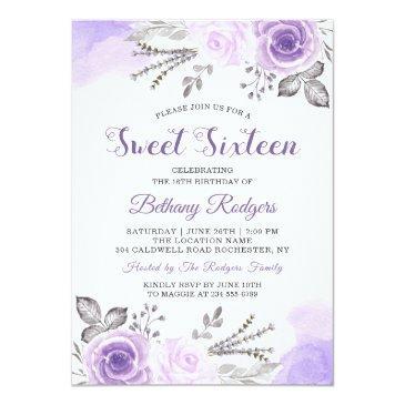 Small Chic Pastel Purple Rose Garden Sweet 16 Birthday Invitation Front View