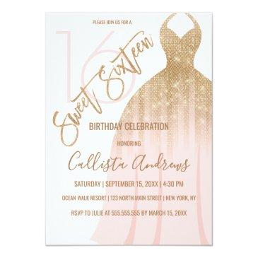 Small Chic Pink Gold Glitter Princess Dress Sweet 16 Invitation Front View