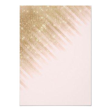 Small Chic Pink Gold Glitter Princess Dress Sweet 16 Invitation Back View