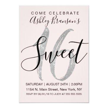 Small Chic Pink Silver Sequin Glitter Sweet 16 Invitation Front View