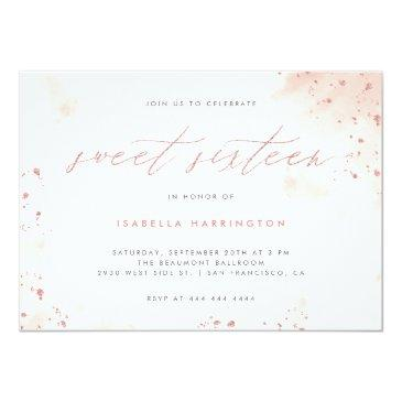 Small Chic Rose Gold Glitter Blush Pink Ombre Sweet 16 Invitation Front View