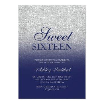 Small Chic Silver Glitter Navy Blue Elegant Sweet 16 Invitation Front View