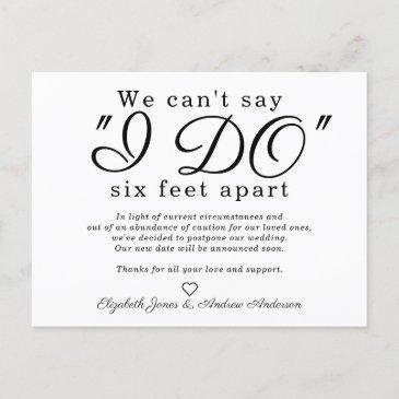 chic six feet apart postponed change date wedding announcement postinvitations