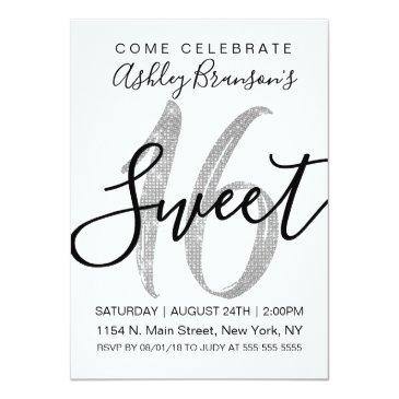 Small Chic White Faux Silver Sequin Glitter Sweet 16 Invitation Front View