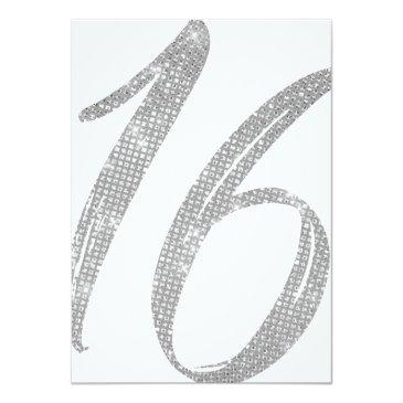 Small Chic White Faux Silver Sequin Glitter Sweet 16 Invitation Back View