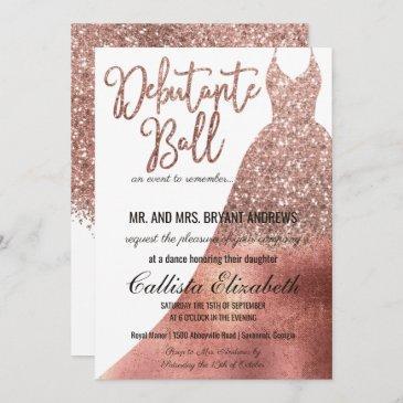 chic white rose gold glitter dress debutante dance invitation