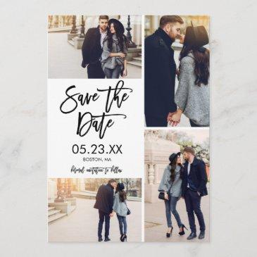 chic white save the date 4-photo collage invitations
