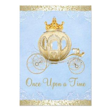 Small Cinderella Blue Once Upon A Time Princess Birthday Invitations Front View