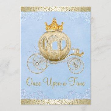 cinderella blue once upon a time princess birthday invitation