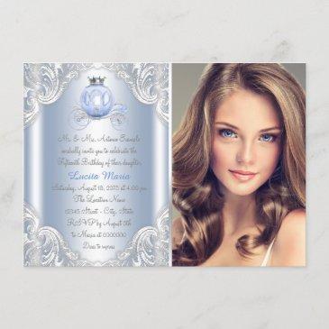 cinderella blue princess birthday invitation