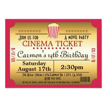 Small Cinema Movie Ticket Popcorn Party Event Invitation Front View