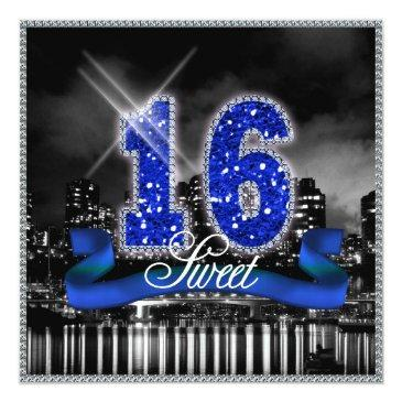 Small City Lights Sweet Sixteen Blue Id118 Invitations Front View