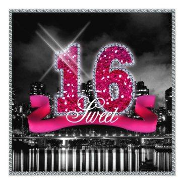 Small City Lights Sweet Sixteen Pink Id117 Invitations Front View