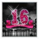 city lights sweet sixteen pink id117 invitation