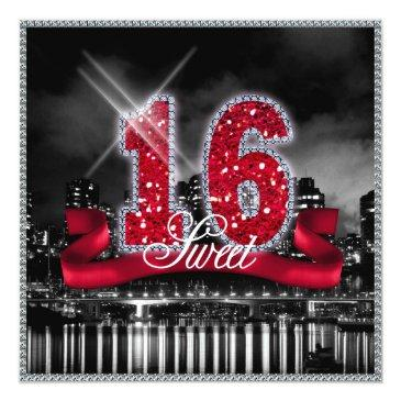 Small City Lights Sweet Sixteen Red Id242 Invitations Front View