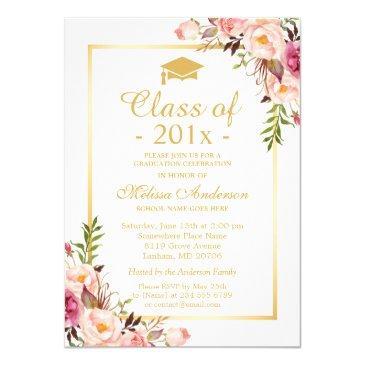 class of 2019 graduation elegant chic floral gold