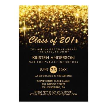 class of 2019 graduation gold glitter glam sparkle invitations