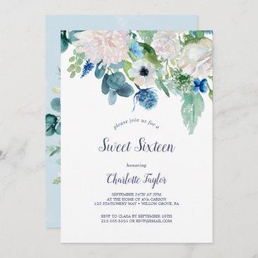 classic white flowers sweet sixteen birthday party invitation