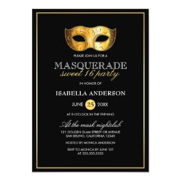 Small Classy Gold & Black Masquerade Sweet 16 Party Invitations Front View