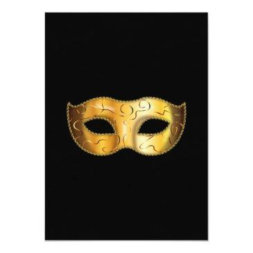 Small Classy Gold & Black Masquerade Sweet 16 Party Invitations Back View