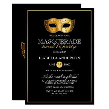 classy gold & black masquerade sweet 16 party invitation